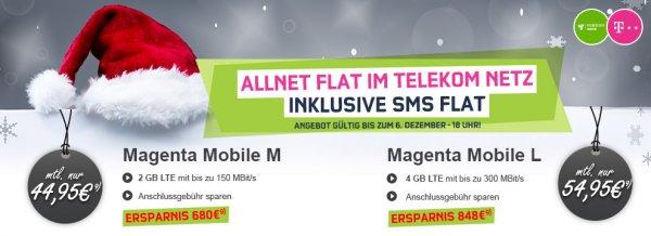 Preisboerse24 (Mobilcom Debitel Telekom LTE 150 und lte 300) Magenta Mobil M (Allnet+Sms+2gb)=19,99€ Magenta Mobil L (Allnet+Sms+4 gb)=24,00€