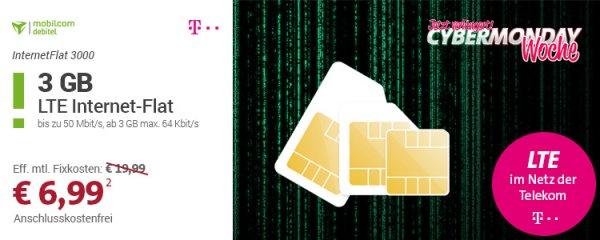 [Sparhandy] Mobilcom Debitel 3 GB LTE (50 Mbit/s) Internet Flat im Telekom Netz 6,99 € / Monat