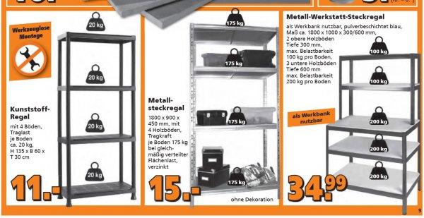 """Globus Baumarkt 15€ Metall Steckregal, Kellerregal 180x90x45cm 4 Böden + 35€ """"Werkbank"""" Variante"""