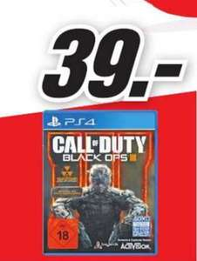 (Lokal) Call of Duty: Black Ops 3 (PS4) für 39€ @ Mediamarkt Wuppertal (Sonntag)