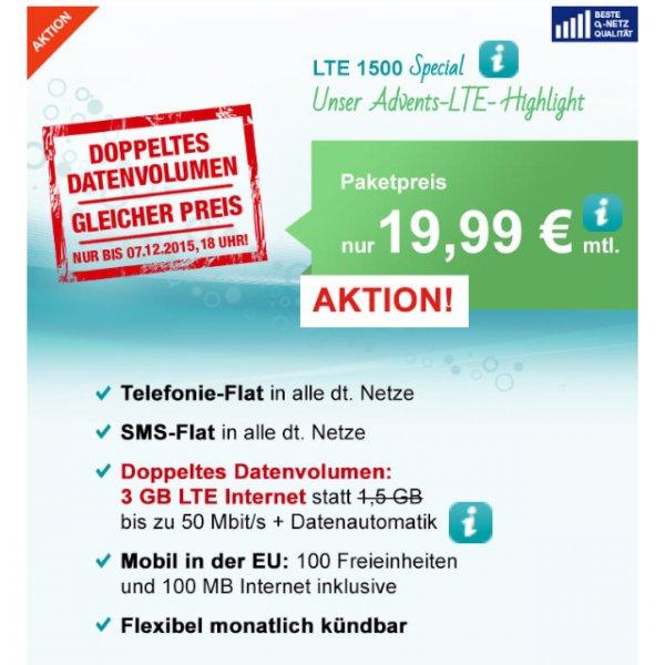 Hellomobil Advents-Highlight mit 3 GB LTE-Highspeed-Volumen zu 19,99€ monatlich.