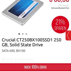 Crucial BX100 250GB, SATA (CT250BX100SSD1) bei Zack One