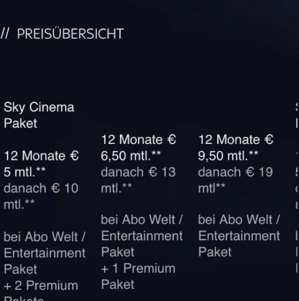 Sky Cinema und hd 12 Monate 50%