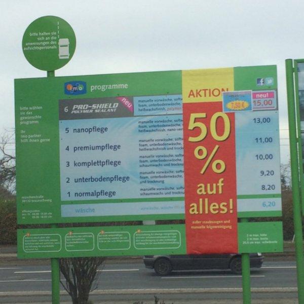 (Lokal) BS - 50% auf Alles imo Waschstraße