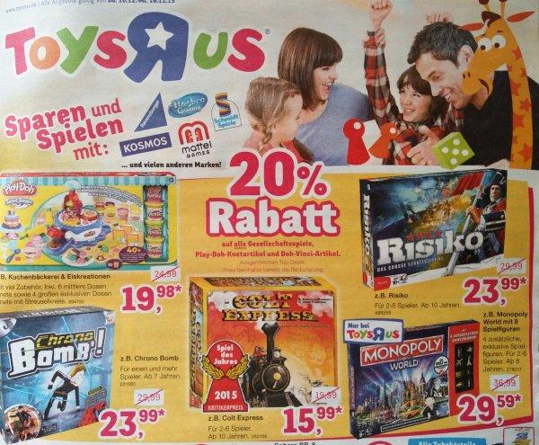 [toys r us] 20% auf alle Gesellschaftspiele ab 10.12.15
