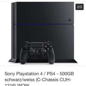 EBay Wow PS4 Sony Playstation 4 / PS4 - 500GB schwarz/weiss (C-Chassis CUH-1216) WOW  Mit Paypal und Payback sehr guter Preis