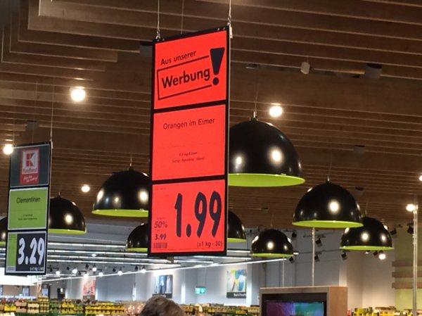 Lokal Kaufland Frankfurt, so viel der Eimer trägt, Orangen 1,99 €