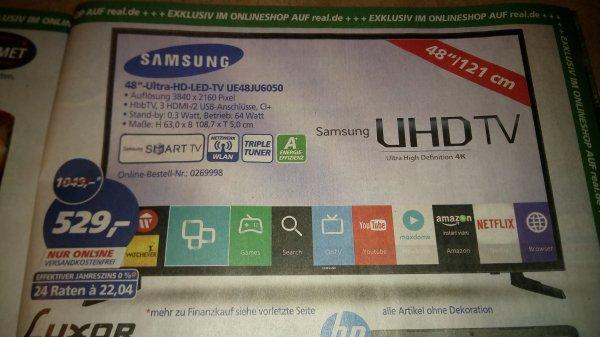 "Samsung 48"" UHD LED-TV, UE48JU6050 @real.de (oder FHD Alternative für 399€)"