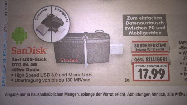 SanDisk USB-Stick Ultra Dual 3.0 64GB (Lokal Kaufland Heilbronn)