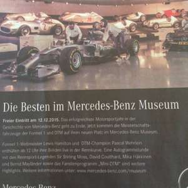 [Lokal Stuttgart] Freier Eintritt in das Mercedes-Benz Museum am 12.12.2015 (Samstag)