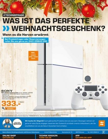 [Lokal Saturn Bremen] PS4 Schwarz/Weiss CHU1200 + 1 Spiel nach Wahl für 333€