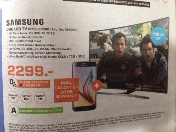 [Saturn Aachen] Samsung UHD LED TV 55Zoll+Samsung Galaxy S6=2299€ (Idealo alleine TV 2399€)
