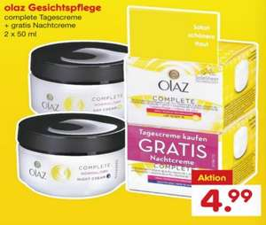 [NETTO MD] Olaz Complete Tagescreme 50ml + Gratis Nachtcreme 50ml für 2,99€ (Angebot+Coupies)