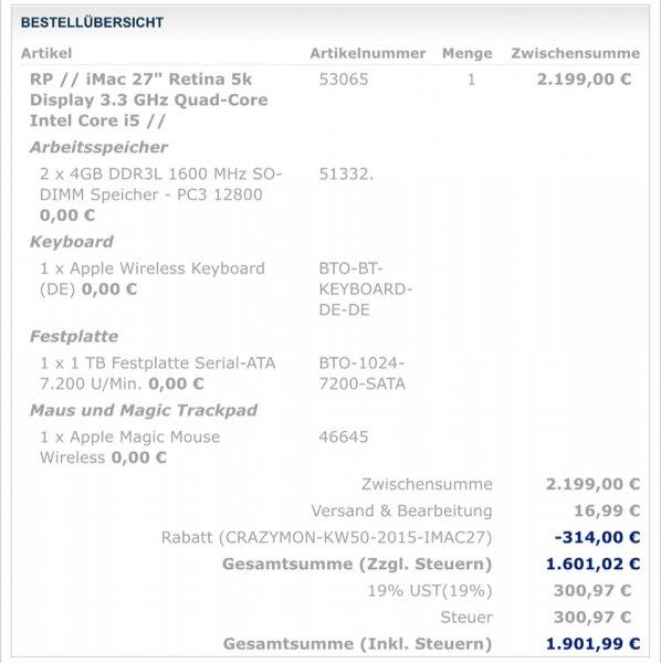 "iMac 27"" Retina 5k Display 3.3 GHz Quad-Core Intel Core i5 RABATT 314€!!!! Nur Montag!"