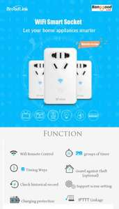 [Banggood App only] BroadLink SP Mini WiFi Smart Home Socket 8,88€