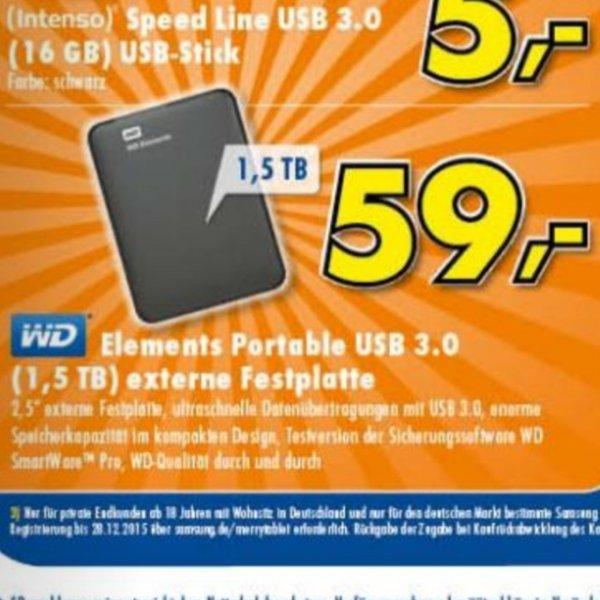 WD Elements Portable USB 3.0 1,5TB externe Festplatte (Euronics zieht mit)