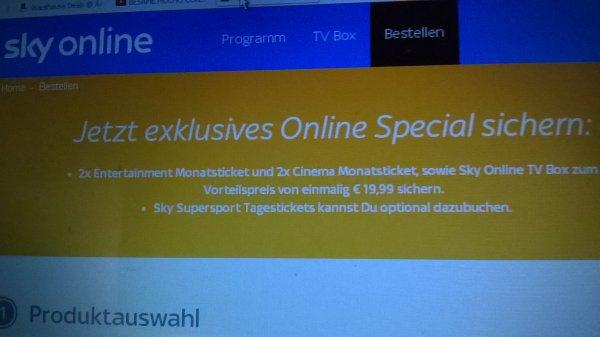 Jetzt exklusives Online Special sichern: 2x Entertainment Monatsticket und 2x Cinema Monatsticket, sowie Sky Online TV Box zum Vorteilspreis von einmalig € 19,99 sichern.