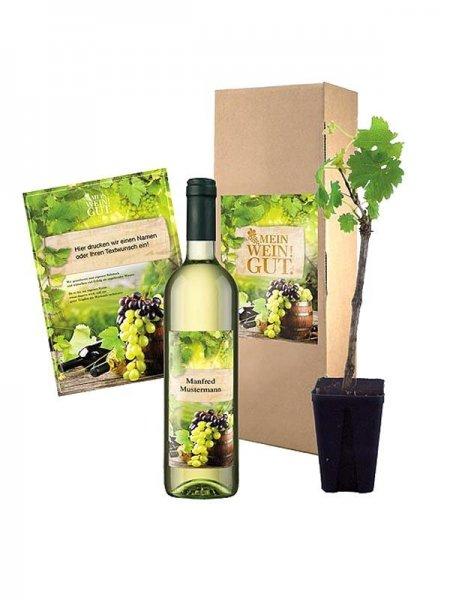 Geschenk für Wein-Freunde! Flasche Wein und Rebe, personalisierbar!