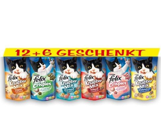 [BLITZANGEBOT - NUR FÜR AMAZON PRIME KUNDEN / sonst + VSK] Felix Katzensnack Snackbox 12 + 6 gratis ( 0,00 Euro dank GZG)