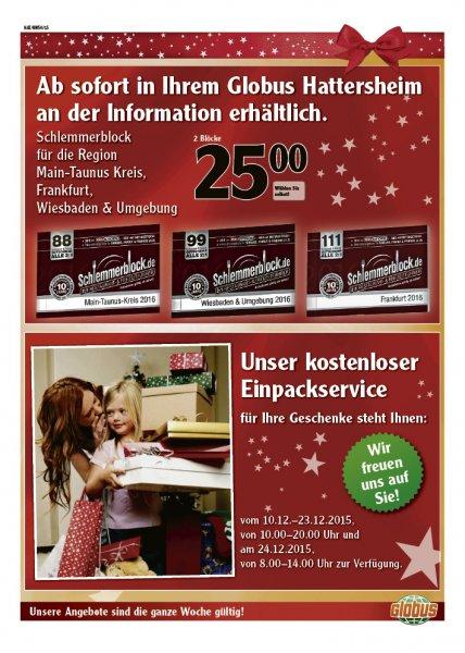 Zwei Schlemmerblöcke für 25€ in der Globus-Filiale in Hattersheim
