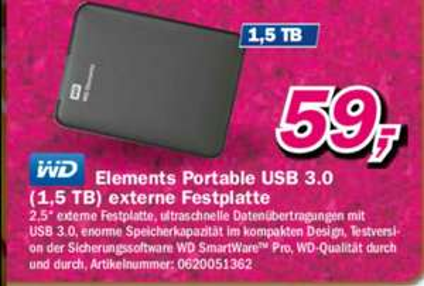 [Lokal Telepoint Filialen] WD Elements Portable USB 3.0 1.5 TB