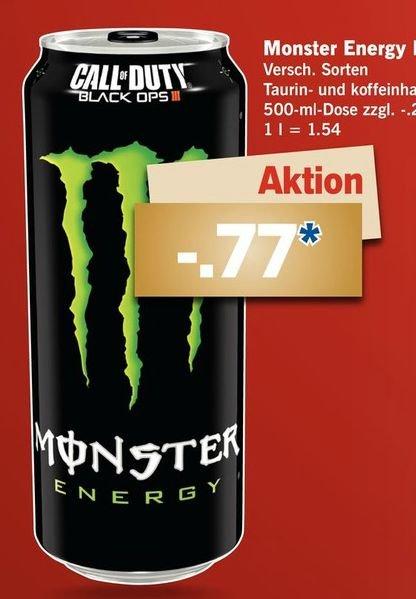 Lidl Bundesweit ab Montag 14.12: Monster Energy Drink-0.5 Liter Dose (Mit COD Black Ops 3Doppel XP Code) in verschiedenen Geschmacksrichtungen für je 0,77€ zzgl.Pfand