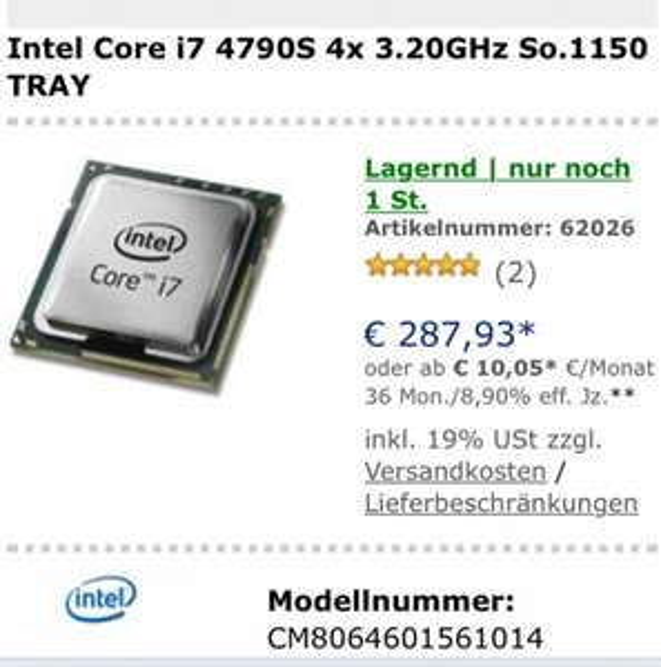Intel i7 4790S 4x3,20GHz Sockel 1150 Haswell