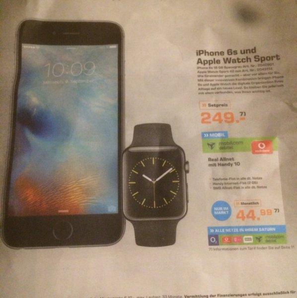 iPhone 6s 16gb + Apple Watch Sport für 249€ einmalig und 44,99€/Monat