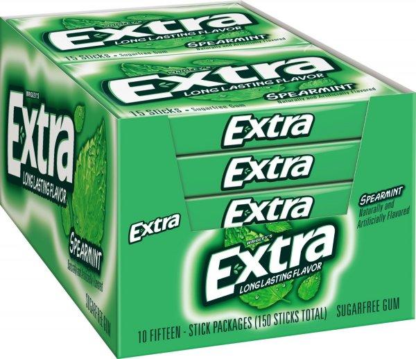 Wrigley's Extra - Spearmint / 150 Stück / 10 Packs je 15 Kaugummis @ Amazon für 5,21 € [Idealo: ~ 24 €]