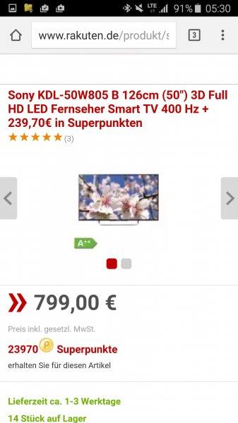 Sony 50 Zoll für 799€ + 239,70 € in Superpunkten