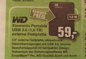 Lokal? Sank Wendel - Western Digital Elements Portable 1,5TB, USB 3.0, 2,5 Zoll