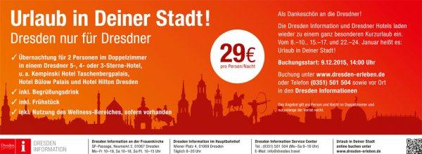 [Dresden] nur für Dresdner Hotelübernachtung in 5-, 4 o. 3 Sterne Hotel