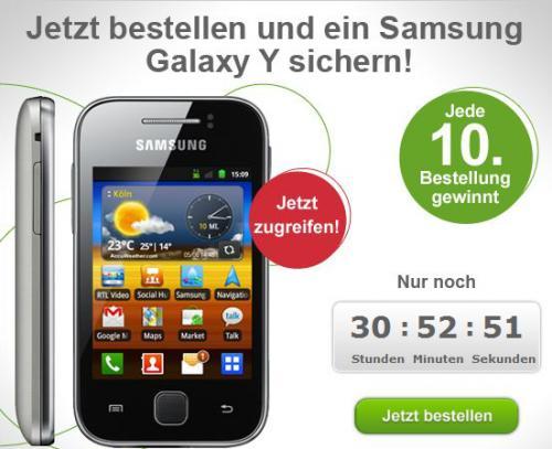Jeder 10. maXXim Prepaid Neukunde gewinnt ein Samsung Galaxy Y im Wert von ca. 111€