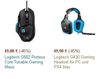 Logitech G430 Headset und G502 Maus für zusammen 69,40 bei Amazon Blitzangebote