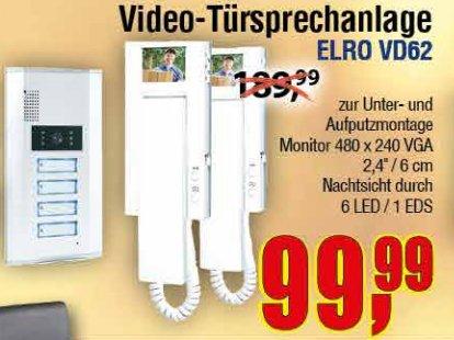 [CENTERSHOP] VGA-Türsprechanlage ELRO VD62 mit Nachtsichtkamera und 4 Klingeltastern für 99,99€ (Idealo: 192,99€)