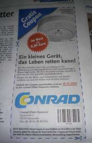 (Local Hannover) Conrad 4000 Rauchmelder Gratis. Coupon im Wochenblatt