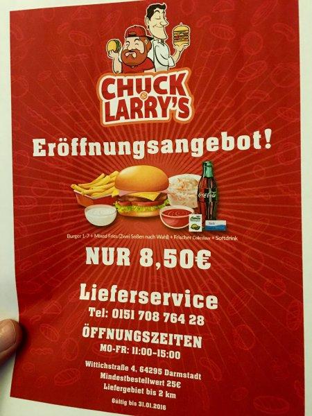 -Lokal Darmstadt- Chuck & Larry's Hamburger Eröffnungsangebot 8,50€