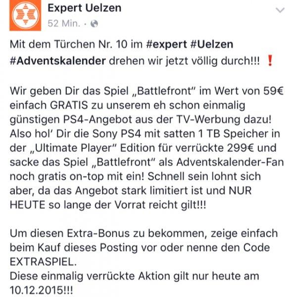 [Lokal Expert Uelzen] PlayStation 4 1TB inklusive Star Wars Battlefront