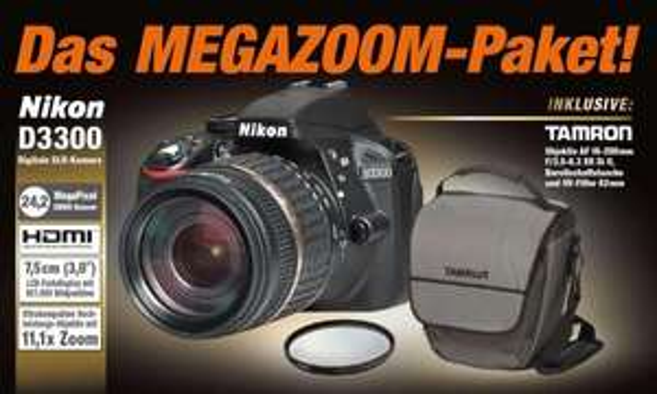 Nikon D3300 inkl. 18-200mm Objektiv, Tasche und UV-Filter für 429,00€