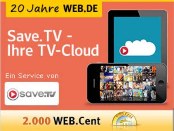 save.TV [Neukunden] gratis testen und 2.000 webcent (20€ bestchoice) erhalten
