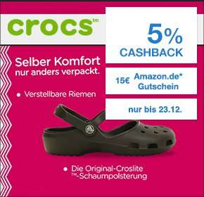Qipu / Crocs.de 15 € Amazon Gutschein für jede Bestellung > 30 € + 5 % Cashback Crocs