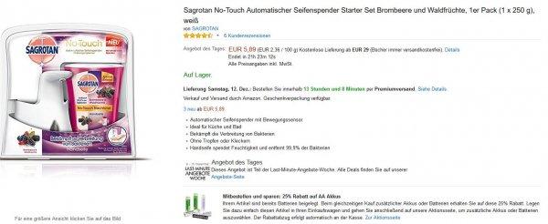 [AMAZON] 25% Rabatt auf Panasonic eneloop beim Kauf eines 'Sagrotan No Touch' Seifenspenders