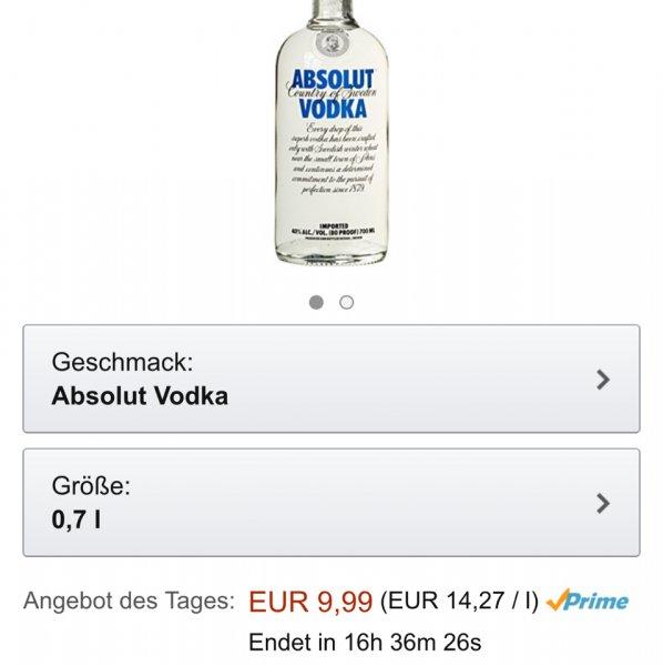 Absolut Wodka 0,7l @ Amazon Prime für 9,99 €