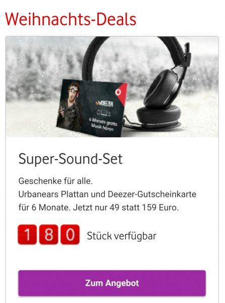 [Vodafone] (Abgelaufen) Weihnachtsdeal Urbanears Plattan und Deezer-Gutscheinkarte für 6Monate. Jetzt nur 49 statt 159 Euro.