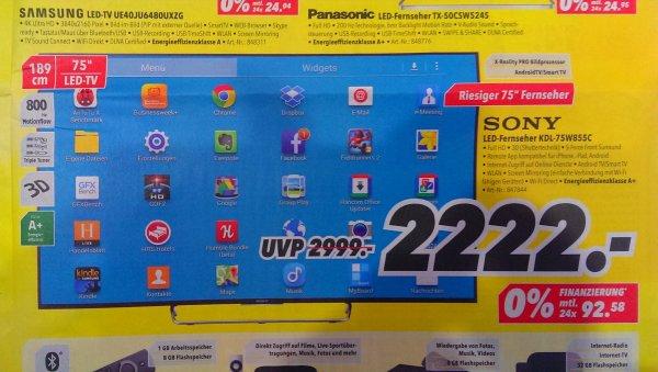 Sony KDL-75W855C für 2.222€ bei Medimax, Anständige 189cm Diagonale fürs...