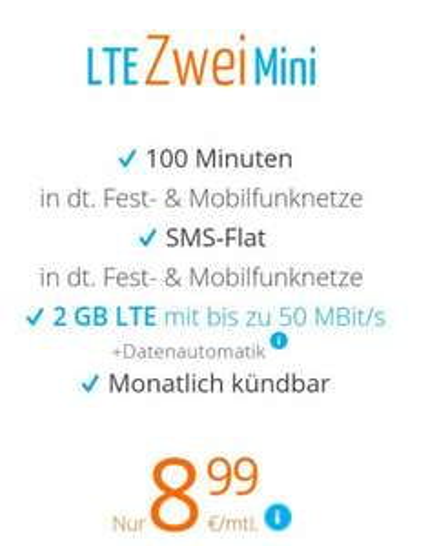 o2-Netz: 100 Min / SMS-Flat / 2GB LTE (50Mbit) - 8.99€ @sim.de