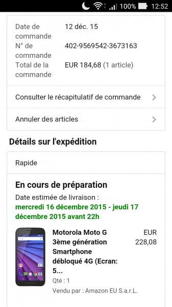 "[Amazon.fr] Motorola Moto G 3 (5"" HD IPS, Snapdragon 410 Quadcore 1,4 GHz, 2GB Ram, 16GB intern, 13MP, wasserdicht, Android 5.1.1 -> Marshmallow) für 184,68€"
