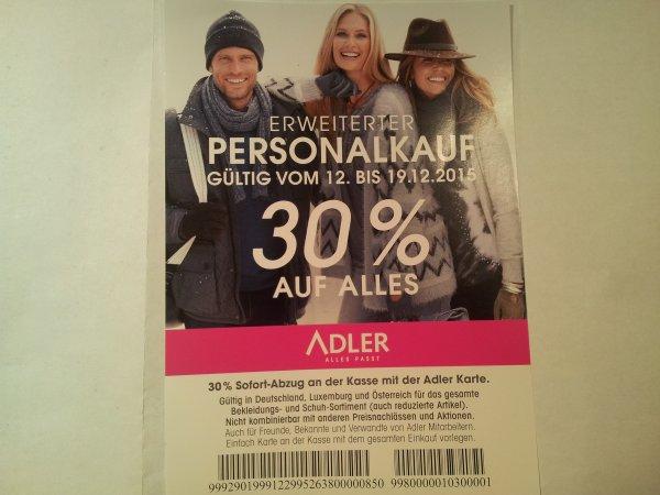 Adler Modemärkte - 30 % auf alles (auch Olymp, Tom Tailor, Lerros, Esprit, s.oliver....)