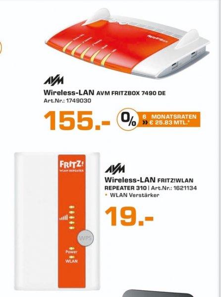 (Lokal) AVM FRITZ!Box 7490 für 155,AVM FRITZ!WLAN Repeater 310 für 19€ @ Saturn Aachen