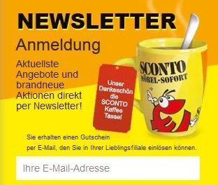 Gutschein für Sconto-Tasse gegen Newsletteranmeldung
